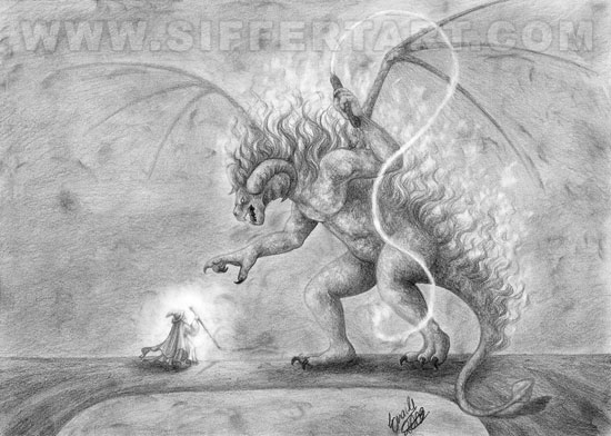 Lord of The Rings Balrog Drawing Book Scene Pencil Drawing